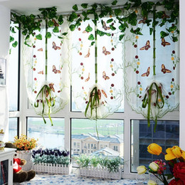 Wholesale Tulle Grommet Curtains - Romantic Rustic Butterfly Embroidered Lift Curtain Tulle Voile Door Village Window Curtain Home Decortion