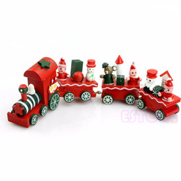 Wholesale toy wooden christmas tree - Charming Lovely 4 Piece Wooden Christmas Santa Tree Train Toy for Kids
