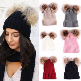 45ffd273f10 Lady Women Winter Fur Hats Pom Poms Braided Crochet Knit Hat Female Ski  Fluffy Ball Baggy Thick Russian Warm Knitted Bomber Cap ladies russian hats  for sale