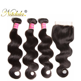 Wholesale Cheap Virgin Human Hair Extensions - Nadula Hair Brazilian Body Wave 3 Bundles With Lace Closure Brazilian Virgin Hair Extensions Remy Human Hair Weaves Closure Wholesale Cheap