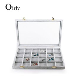 Wholesale glass jewelry showcase - Oirlv Velvet Jewelry Case Display Box Large Glass Top Jewelry Storage Case Counter Showcase Display Tray