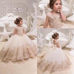 b92261e30 vestidos fiesta color champagne Rebajas Vestido de princesa Champagne niña  de las flores de cuello joya