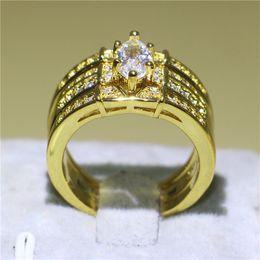 2020 tamaño del anillo topacio amarillo Juego de anillos de boda con relleno de oro amarillo 3 en 1 de lujo Marquise Cut White Topaz Zirconia Prong Joyería de moda para novia Tamaño de regalo exquisito 5-10 rebajas tamaño del anillo topacio amarillo