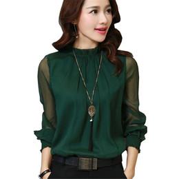 Blusa de colar de babados mais tamanho on-line-Moda Primavera Outono Blusa Chiffon Novo Coreano Casual Plissado Gola Camisa de Manga Longa Mulheres Camisas Tops Plus Size Blusas