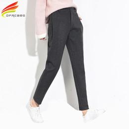 Wholesale Winter Casual Pants For Women - Warm Winter Trousers For Women Gray And Black Casual Harem Pants Woolen Slim Thick Women's Trousers pantalon femme