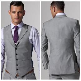 2019 - Custom - Ensembles smoking - marié - gris clair - fente latérale gris - meilleur costume pour homme - mariage - garçon d'honneur, hommes - costumes - vêtements de jeune marié (veste / pantalon + gilet) ? partir de fabricateur
