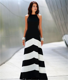 Noite preto vestidos listrados brancos on-line-Preto e branco listrado maxi dress womens backless dress vestidos de verão vestidos formais listras longo maxi vestido de noite m167