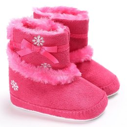 Wholesale Boys Add - Christmas Baby Girls Shoes Winter First Walkers Kids Add Velvet Keep Warm Ice flower Print Children Boots