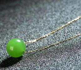 Giada naturale 12mm online-Spedizione gratuita nobile gioielli 12mm naturale verde hetian collana pendente di giada catena 18k
