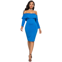 2018 New Sexy Women Solid Dress Off the Shoulder Ruffle Long Sleeve Nightclub  Party Slim Bodycon Dresses for Women Vestidos Blue d71a5f07f