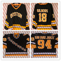 Wholesale full happy - Mens #94 GIN AND JUICE Snoop Doggy Dogg Pittsburgh Penguins Jerseys Stitched #18 Happy Gilmore Boston Bruins Film Hockey Jersey S-3XL