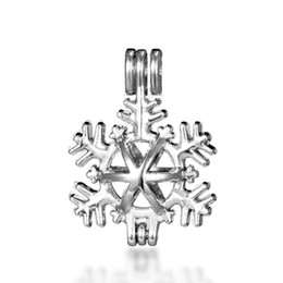 Wholesale pearl silver jewellery - 10pcs snowflake essential oil diffuser jewellery provides silver-plated pearl cage pendant - add your own pearl to make it more attractive