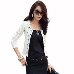 Женщины слоеные пальто онлайн-Дамы короткий костюм куртки Женская верхняя одежда пальто элегантные женщины мода тонкий горный хрусталь заклепки короткий костюм куртка черный белый