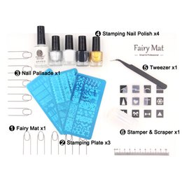 Wholesale Stamping Mats - Fairy MAT + Stamping Plates + Stamper Polish +Palisade Tweezer Pro Nail Art Mat Sets Silicon Table Cover Peel off Tape Tools