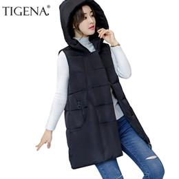 Wholesale Womens Long Black Vest - TIGENA Fashion Hooded Long Vest Female 2017 Autumn Winter Vest Womens Plus Size Sleeveless Jacket Coat Black Gray Army Green