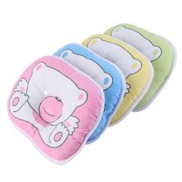 Almohada de cabeza de oso online-Venta al por mayor 10pcs / 1set Bear Pattern Pillow Newborn Infant Baby Support Cushion Pad Prevent Flat Head 100% Top Good Pillow Case