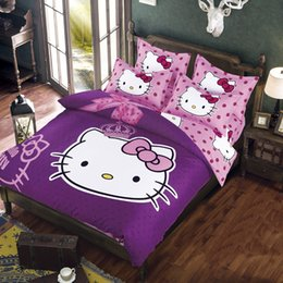 Wholesale linen bedding queen - Hello Kitty Bedding Set Children Bed Linen Cartoon Duvet Cover Set with Bed Sheet Pillow Case bedclothes Twin Full Queen Size