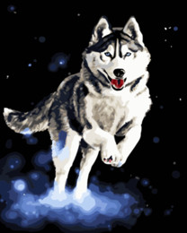 ing Pet Husky Dog 16×20 inches DIY Paint Canvas drawing By Numbers Kits Art Acrylic Oil Painting Frame For Adult Teen