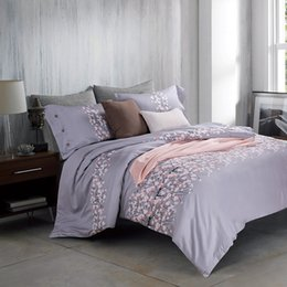 Wholesale Egyptian Cotton Sets - Wholesale-Gray Floral Queen King Size Bedding Sets Egyptian Cotton Bedlinens Customized Flowers Duvet Cover+Flat Sheet+Pillow Cases