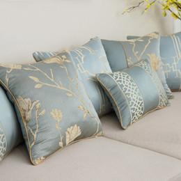 2019 almohadas elegantes almohadas Cojín Nórdico Cojín Cojín Elegante Azul Bordado Textura Cojines Decorativos fundas Car / Pillow Cover Housse De Coussin almohadas elegantes almohadas baratos