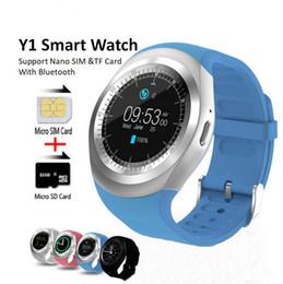 Smartwatch dhl бесплатно онлайн-Смарт-часы Y1 Круглый Sharp Поддержка Nano SIM с Whatsapp Facebook Бизнес SmartWatch Push-сообщение для IOS Android Phone Бесплатный DHL.