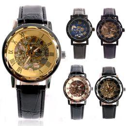 Men \ 's Classic Gold Dial Esqueleto De Couro Preto Esporte Mecânica Exército Relógio De Pulso supplier black dial skeleton wrist watch de Fornecedores de relógio de pulso preto do esqueleto do seletor