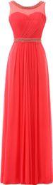 2019 модные платья невесты Красный синий мяч-Line платье шею назад шифон вечерние платья мода жемчуг длинные платья невесты выпускного вечера HY1304 дешево модные платья невесты