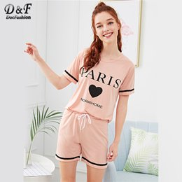 Dotfashion Heart   Letter Print Drawstring Waist Pajama Set Round Neck  Short Sleeve Casual Nightwear Women Pink Pocket Sleepwear 1dc9984cd