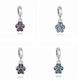 Wholesale Paw Charm Blue - Crystal Dog Paw Prints Drop Dangle Pendants Fit Charms Bracelet Wholesale Designs for Love Girls Mom Dad Beads Fit Pandora Bracelets Spacer