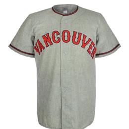 vancouver grátis Desconto Mounties de Vancouver 1956 Estrada Jersey 100% Bordado Costurado Logos Jérsei De Beisebol Do Vintage Personalizado Qualquer Nome Qualquer Número Frete Grátis