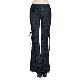 Wholesale Lace Up Gothic Pants - Punk Women's Bell-bottom Trousers Gothic Branch Printed Stretch Flare Pants Lace-up Slim Fit Bodycon Pants