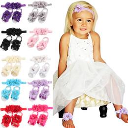 baby mädchen füße bands Rabatt bunte Fußblume barfuß Sandalen + Stirnband für Baby Kleinkind Mädchen Kleinkind Baby Mädchen Blume Stirnbänder Fuß Blume Haarband gesetzt