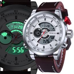Смотреть NORTH Alarm напоминание спортивные часы Мужские кварцевые кожа 30  м водонепроницаемый LED дисплей дайвинг Спорт цифровые мужские дешево  мужские ... 4ba0612af8180