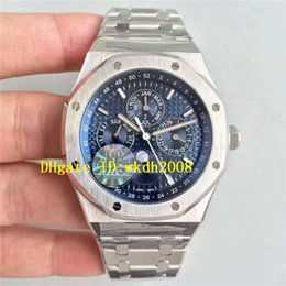 Wholesale Perpetual Moon - Luxury Brand Best Quality Stainless Steel Perpetual Calendar Moon Phase Cal.5134 Movement Automatic Mens Watch Blue Dial Sapphire Crystal