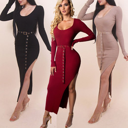 83e43972673 Les femmes s habillent robes moulantes Explosive tricolore sexy robe en tricot  élastique côté ouvert robe sertie de ceinture rouge noir brun 3 couleurs  Sexy ...