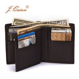 bifold wallet black Coupons - J.Quinn Genuine Leather Men Wallet Cowhide Short Bifold Brand Famous Mens Wallets 2016 New Soft Small European American Purses