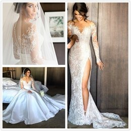 Wholesale Lace Over Satin Dress - Elegant Illusion Long Sleeves Lace Split Mermaid Wedding Dresses Jewel Neck Satin Detachable Over Skirts Wedding Bridal Gowns 2018 Fall