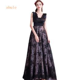ec3503bee Vestidos de noche largos con cuello en v sin mangas acanalada Vestidos de  fiesta formales Vestidos de longitud de piso negro Hermosos vestidos de  noche ...