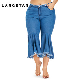 563f5338b628c New Jeans Woman Trousers 2018 Denim Wide Leg Jeans Stretch Ladies Flare  Pants Plus Size 5XL Women Ruffle Frayed Hem Pants discount ladies flare  jeans