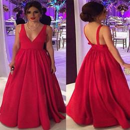 сексуальный красный плюс размер maxi платья Скидка Красный 2018 дизайнер женщин платья выпускного вечера с длинным плагином шеи длиной до пола летом макси элегантный атласные вечерние платья сексуальные спинки плюс размер атлас