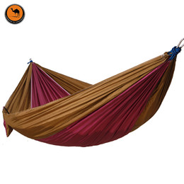 Wholesale Fabric Double Hammock - Camping Hammock Double Camp Hammock With Tree Rope and 4 Carabiners,Portable Lightweight Nylon Fabric for Backyard