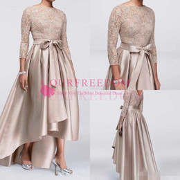 Wholesale Top Mother Bride Dresses - Chic Champagne A-line High Low Mother Of The Bride Dresses Sequined Lace Top Long Sleeves Dress Evening Wear Cheap Wedding Guest Dress