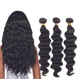 Ondas de pelo comprar online-Paquetes de cabello peruano Extensiones de cabello humano Remy de onda profunda suelta de Can Buy 4 o 3 Bundles Natural Color Hair Weave en stock