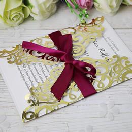 Canada 2019 nouvelle livraison gratuite Fit 5 * 7 lumière or Invitations cartes avec ruban pour mariage nuptiale douche fiançailles anniversaire graduation invite Offre