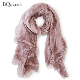 Wholesale Shawl Lace Hijab - New fashion women solid color cotton linen scarves with lace lady spring autumn thin silk scarf shawl wrap hijab high quality