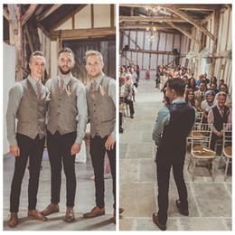 Gli stili casual della maglia degli uomini online-Custom Groom Casual Vest in lana a spina di pesce Grooms Vests British Style Suit uomo in gilet Slim Fit Groomsmen Dress uomo Vest 2018