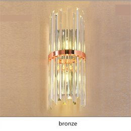 Wholesale Luxury Lighting Fixtures - Modern LED K9 Crystal Wall Lamp sconce for hallway living room Luxury Villa Hotel Bedroom Bedside Lamp home Mirror LED wall fixtures lights