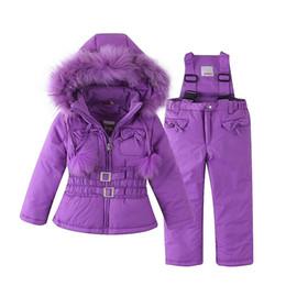 f895edd6a0 Mingkids Snowsuit Outdoor Ski Set for Baby Girl Winter Warm Snow Suit  Waterproof Windproof Hooded Jacket Faux Fur with Ski-pants girls ski jacket  on sale
