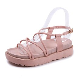 Wholesale Wholesale Leather Roman Sandals - High Quality Women Fashion Sandal Lady Roman Sexy Anti-slip Lace Up Ankle-Wrap Flat Open Toe Shoes Summer Casual Slipper Beach Loafers