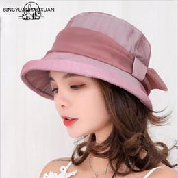 81008d9f24b BINGYUANHAOXUAN 2018 New Lady Spring And Summer Beach Wide Brim Fisherman Hat  Women Fashion Cotton Big Bowknot Plain Bucket Hat